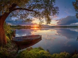 Summer, Lake, Willow, Boat, Sunset, Wallpaper, Widescreen, Hd