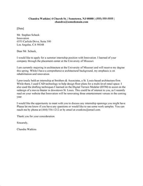 internship cover letter sle fastweb grad school