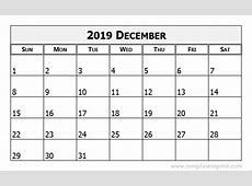 December 2019 Calendar Template printable weekly calendar