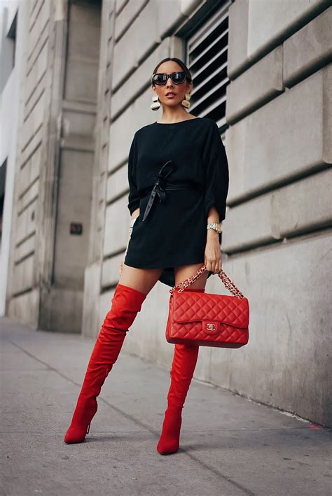HOW TO WEAR RED THIGH HIGH BOOTS THIS FALL