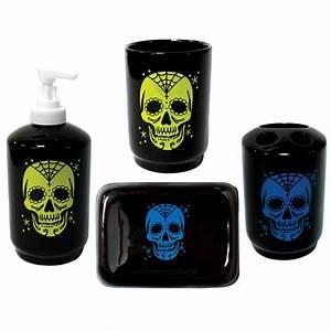 Sugar skull tattoo bath set rockabilly retro punk gothic for Punk rock bathroom decor