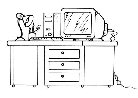 coloriage bureau coloriage bureau avec un ordinateur img 8190