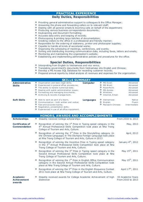 cv resume sample  fresh graduate  office