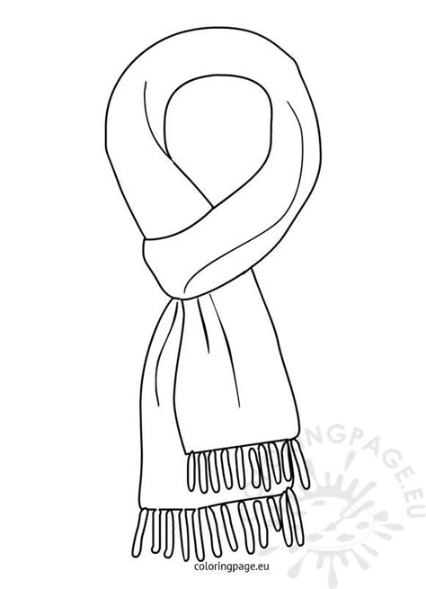winter scarf black  white coloring page