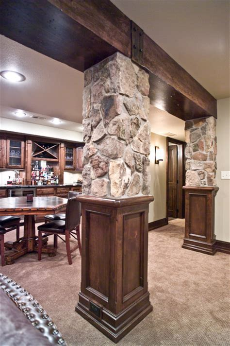 Wood Beam/ Stone Columns   Traditional   Basement   other