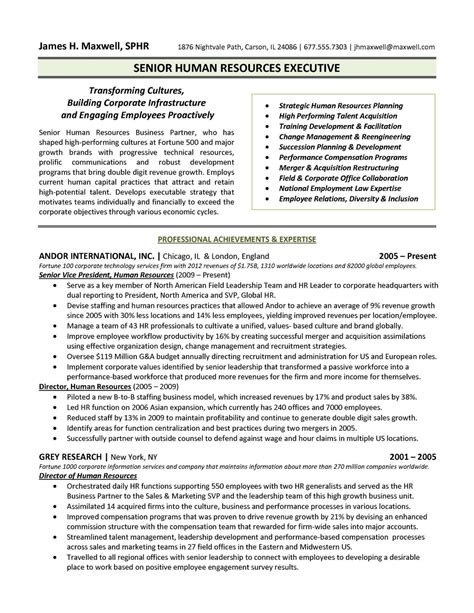 hr executive resume sle