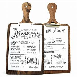 Die Cut Printed Wooden Clip Boards. Wooden menus, wooden ...