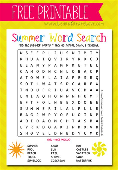 printable word search summer