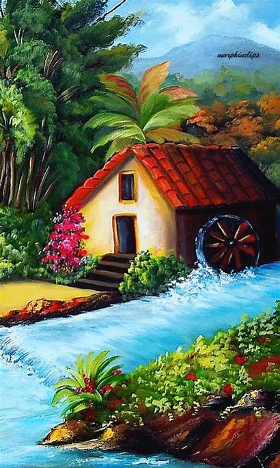 Scenery Drawing Mill Paintings Landscape Oil Pastel