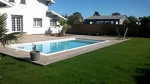 piscine traditionnelle et terrasse bois piscine pas cher With terrasse bois avec piscine