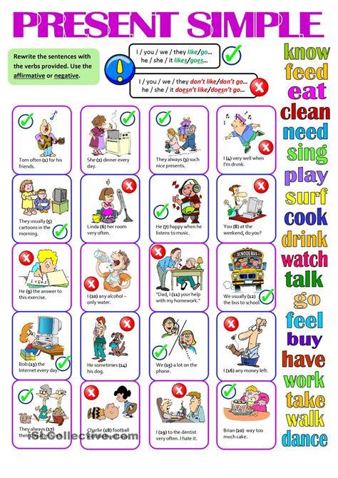 present simple affirmative negative esl worksheets