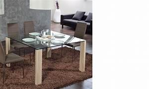 Table à Manger Verre Et Bois : table manger carr e moderne en verre et couleur bois lars 2 ~ Teatrodelosmanantiales.com Idées de Décoration