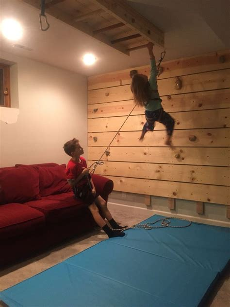 diy basement rock climbing wall  belay dad  wild