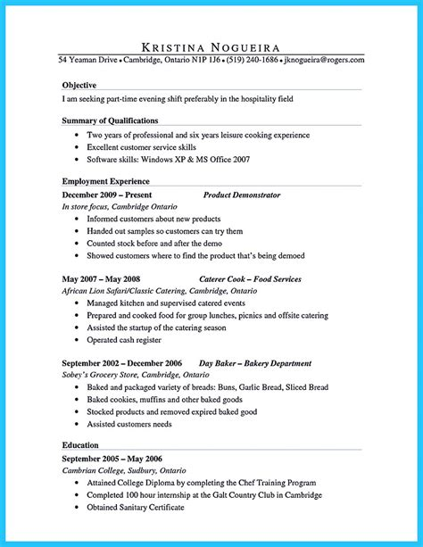 Culinary Resume Summary by Excellent Culinary Resume Sles To Help You Approved