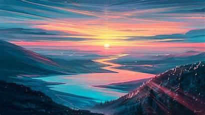 Sunset Aenami Mountains Artwork Wallpapers Wallhere