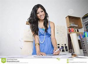 Female Fashion Designer At Desk Stock Photo - Image: 33839810