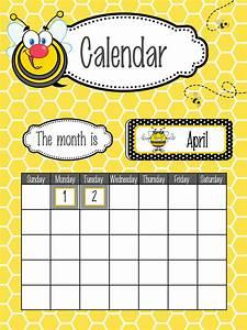 bees classroom decor calendar set poster fonts bee With bulletin board calendar template