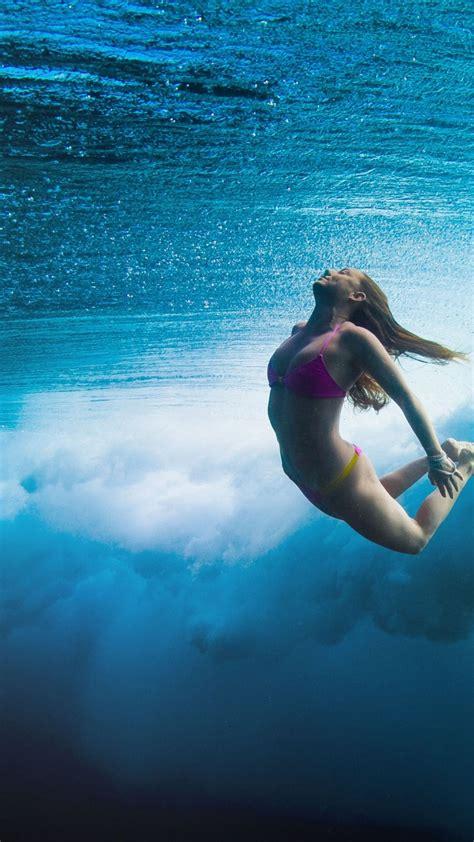 wallpaper surfing girl sea underwater sport