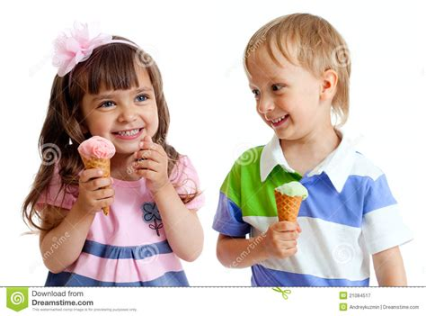 Happy Children Twins Girl And Boy With Ice Cream Royalty