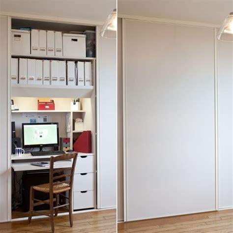 meuble bureau porte coulissante transformer un placard en bureau aménager un coin bureau