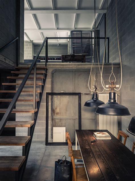 industrial interiors home decor concrete shadows house loft