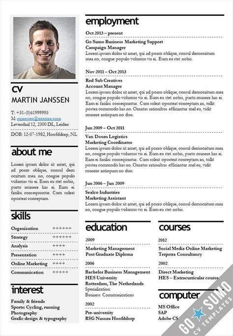 Curriculum Template Word by Cv Template Kopenhagen Go Sumo Cv Templates Resume