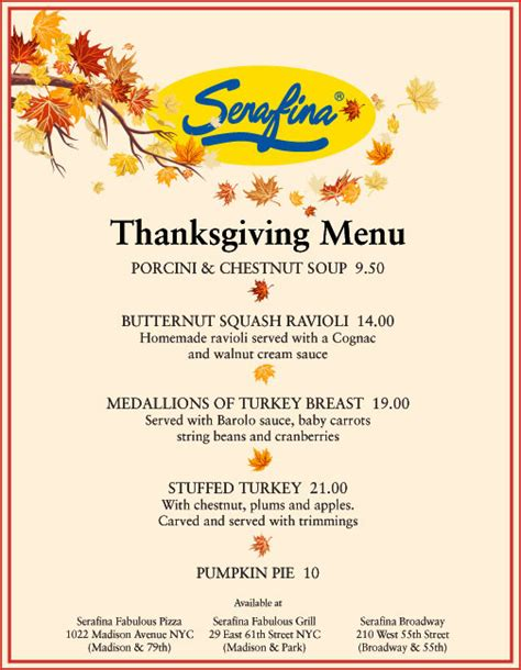 italian thanksgiving dinner menu serafina s thanksgiving day menu social vixen