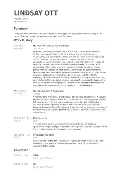 Objective For Hr Coordinator Resume by Human Resources Coordinator Resume Sles Visualcv
