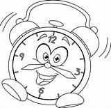 Clock Alarm Coloring Cartoon Intervals Minute sketch template