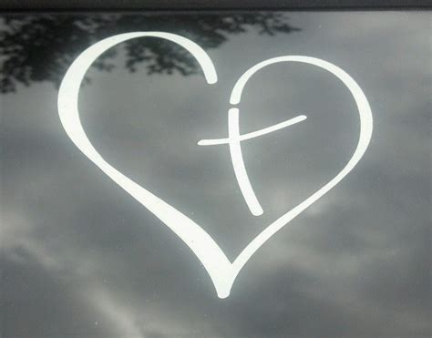 Vinyl Decal Heart With Cross In Center Christian For Car Auto
