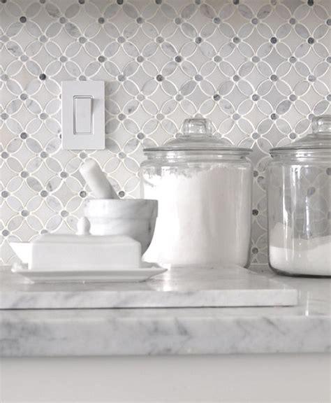 white gray marble flower mosaic tile backsplash