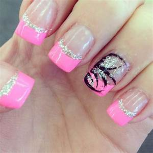 Pink French tips with silver glitter and design on ring ...