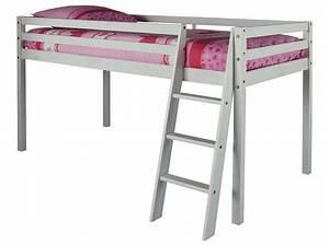 Lit Demi Hauteur : lit sur lev roxy 5 coloris blanc conforama pickture ~ Premium-room.com Idées de Décoration