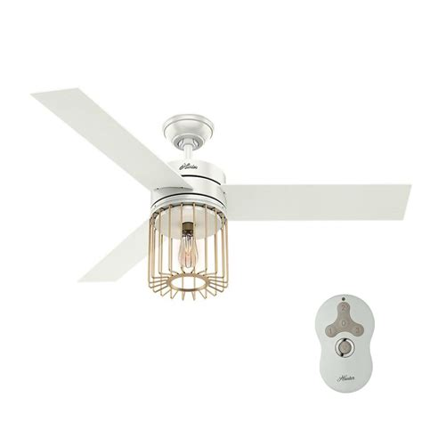 home depot white ceiling fan with remote hunter ronan 52 in led indoor fresh white ceiling fan