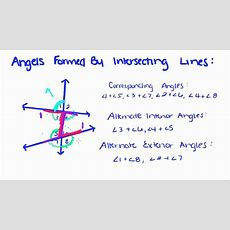 Introduction To Geometry  25  Angles Formed By Intersecting Lines Youtube