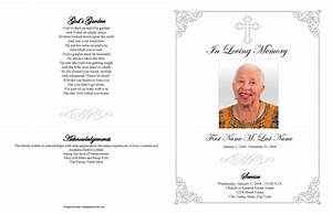funeral program templates large tabloid grey ornate cross With funeral handouts template