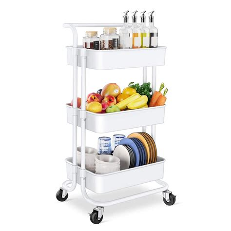 See more ideas about coffee carts, coffee truck, food cart. 3 Tier Rolling Utility Storage Cart with Handles and Roller Wheels Craft Cart for Kitchen ...