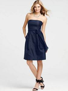 Strapless Navy Blue Bridesmaid Dress with Self-tie Sash ...