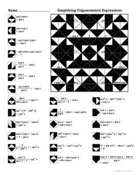 simplifying trigonometric expressions color worksheet trigonometry worksheets trigonometry