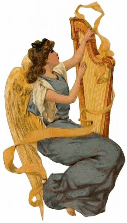 Angel Angels Christmas Harp Clip Biblical Gold