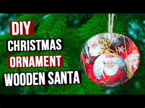 diy christmas ornament wooden santa   decoupage