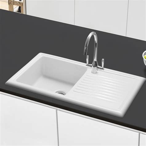 caple wiltshire  single bowl inset ceramic kitchen sink