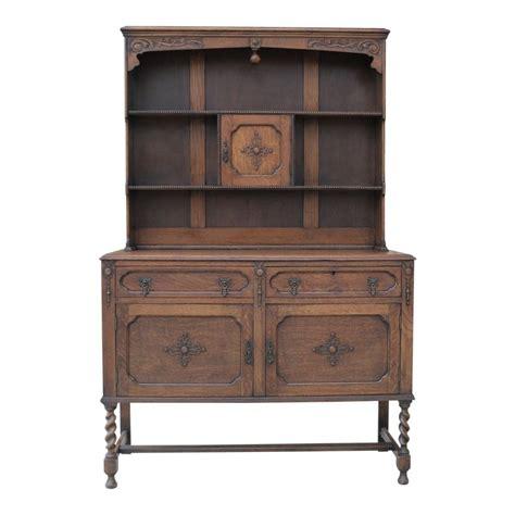 antique english oak jacobean barley twist plate dresser sideboard buffet server