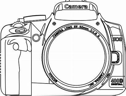 Camera Coloring Clipart Line Nikon Clip Dslr