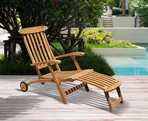 halo teak steamer chair with free cushion wheels brass