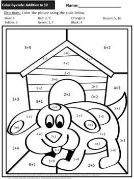 color  number addition  subtraction   worksheets