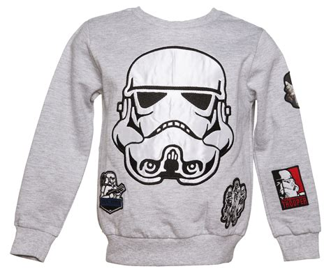 stormtrooper sweater grey marl wars stormtrooper applique badges