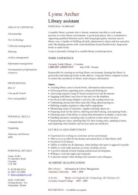 How To Write A Resume For Library by Library Assistant Cv Sle