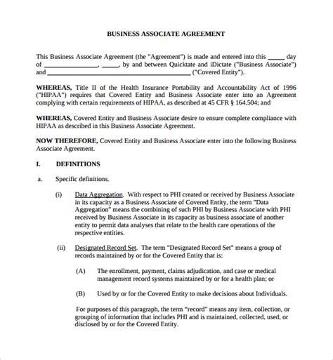 business associate agreement template 8 business associates agreements sle templates