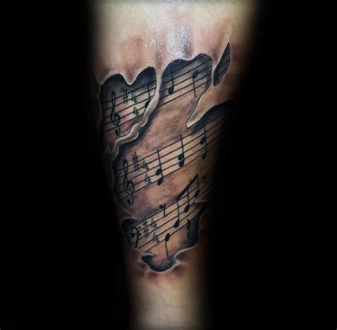 note tattoos  men auditory ink design ideas